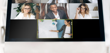 A video conference call showing various professionals.