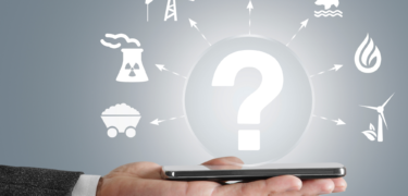 A pair of hands holding out a cellphone with a superimposed question mark in the center.