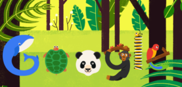 The Google logo with animals as the different letters.