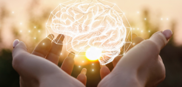 Hands holding a superimposed icon of a brain.