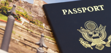 A picture of an international location is shown next to a US passport.
