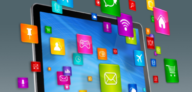 Apps are shown floating in front of a tablet.