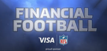 "The logo of ""Financial Football,"" with VISA and NFL's logo underneath it."
