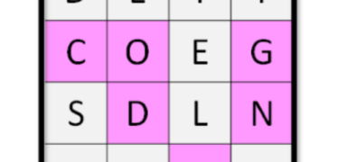 A 4x4 word grid is shown with the word coding highlighted in pink.