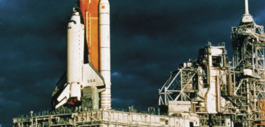 A rocket on a platform.