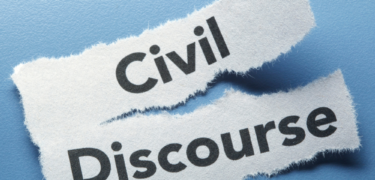 Civil Discourse is written on a torn piece of paper.