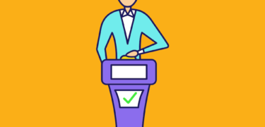 A cartoon of a person behind a game show podium.