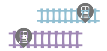Two cartoons of railroads with metro stock images.