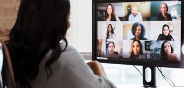 A woman is video chatting.